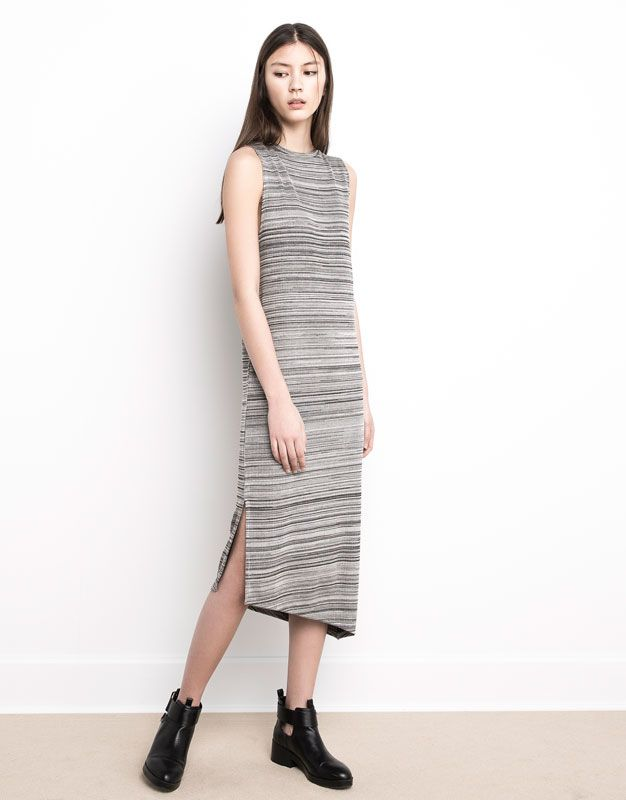 517e51bedf STRIPED DRESS WITH UNEVEN HEM - DRESSES - WOMAN - PULL BEAR Singapore