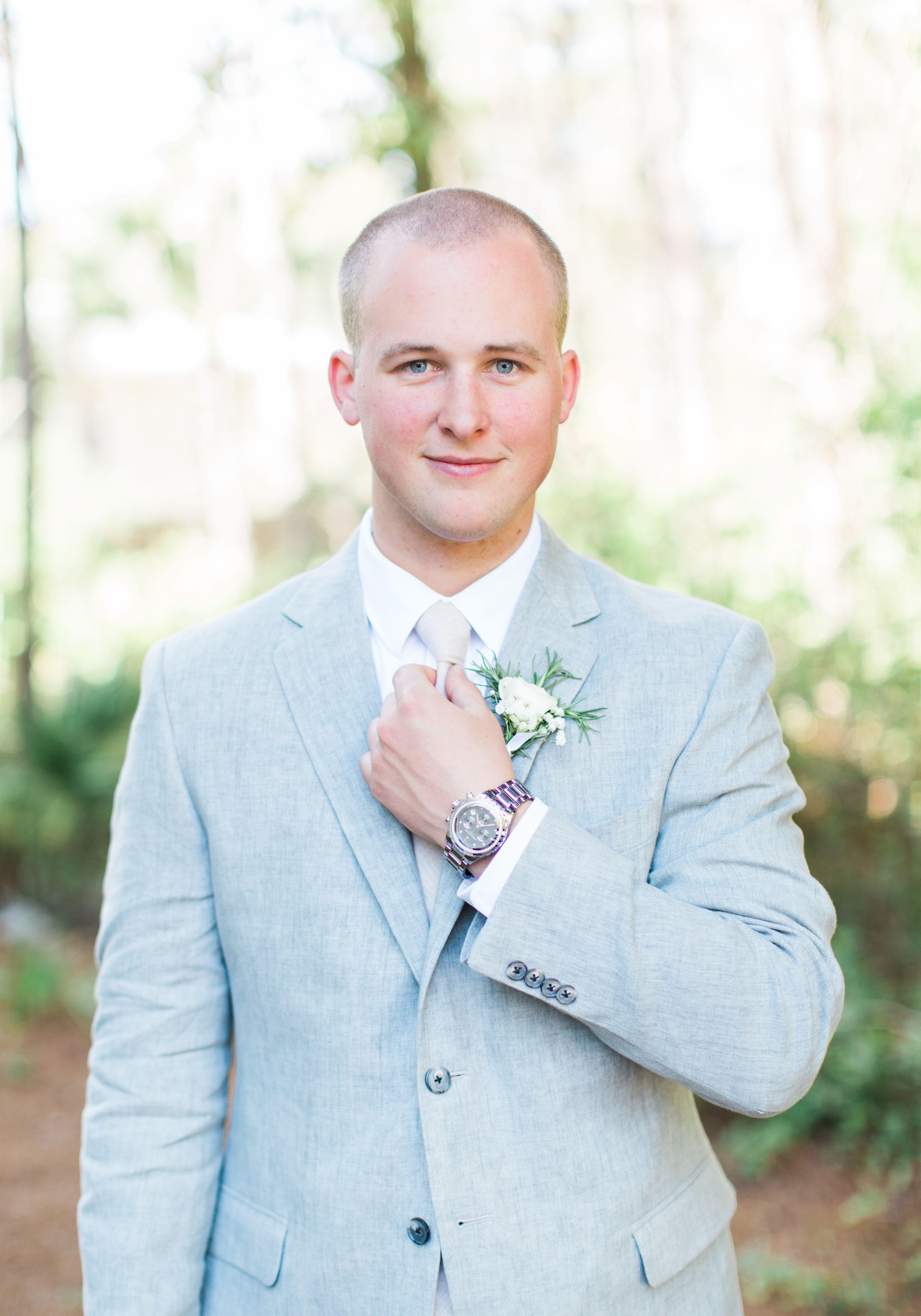 Light grey with tan beach groomsman and groom attire menus wedding