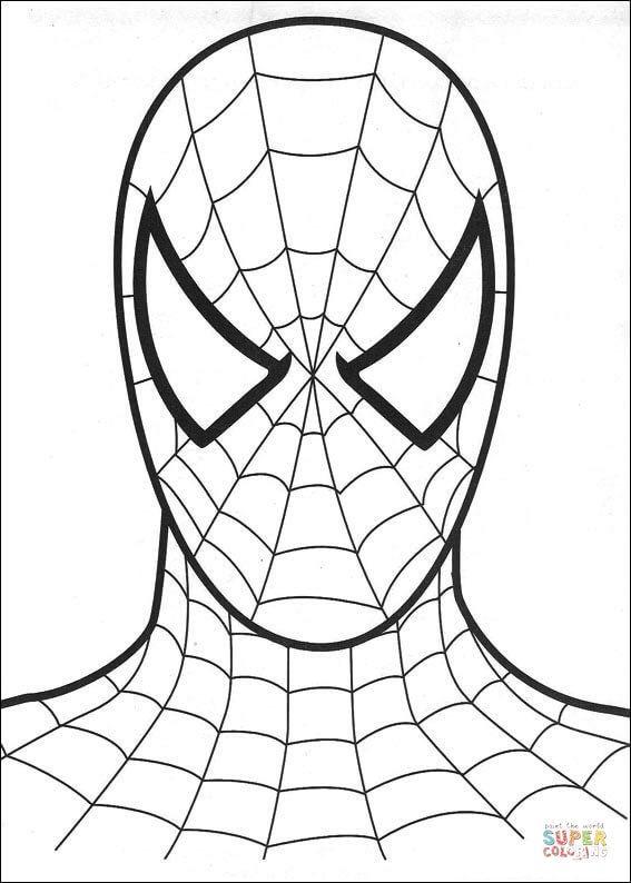 ausmalbild spiderman's kopf kategorien spiderman