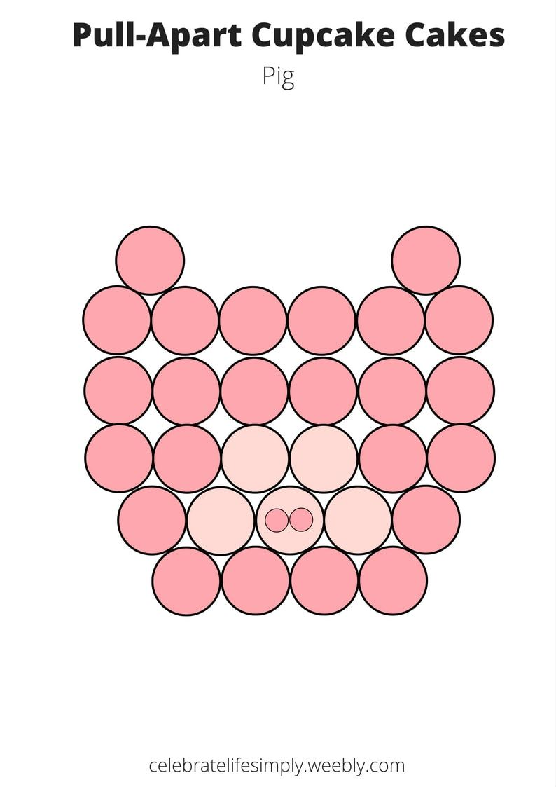 Pig Party Pull Apart Cupcake Cake Template Baking And