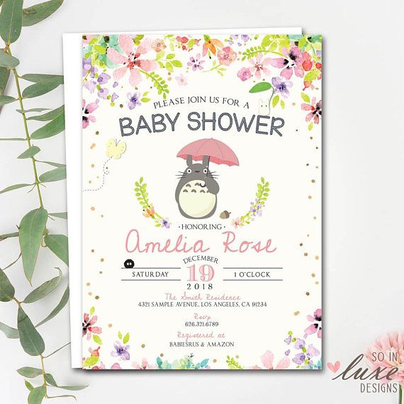 Floral Totoro Baby Shower Invitation Whimsical Totoro Anime
