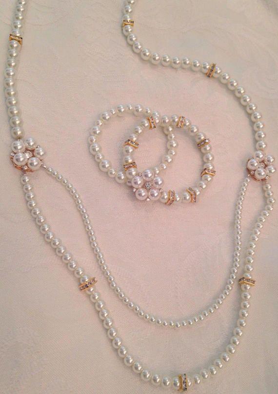 Pearl and rhinestone jewelry set d4a08141530b