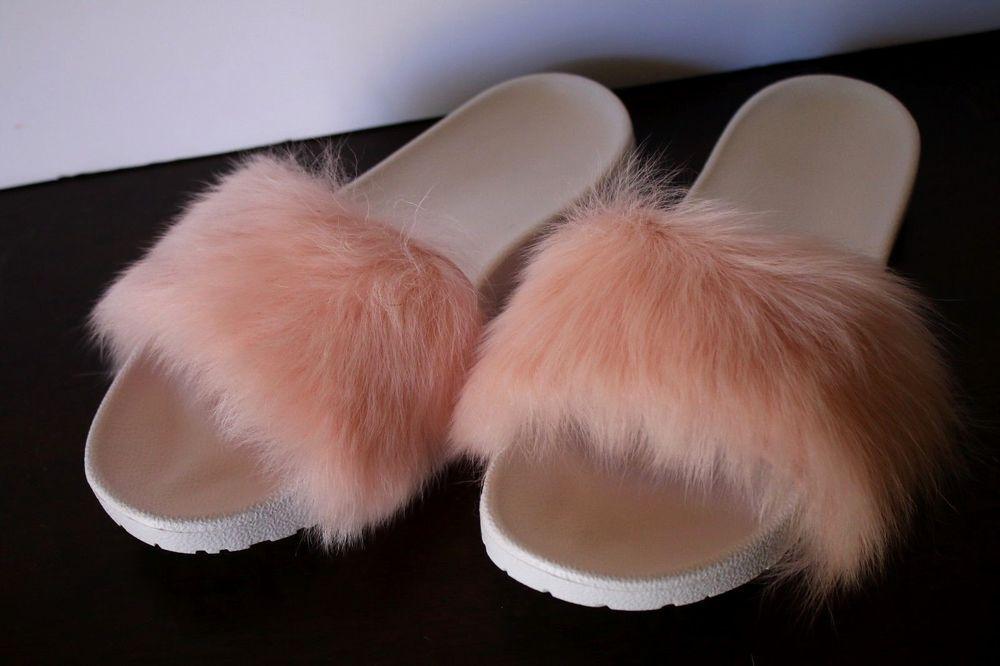 f5b340a8d2d Details about UGG Royale Baby Pink White Slides Sandals Toscana Fur ...
