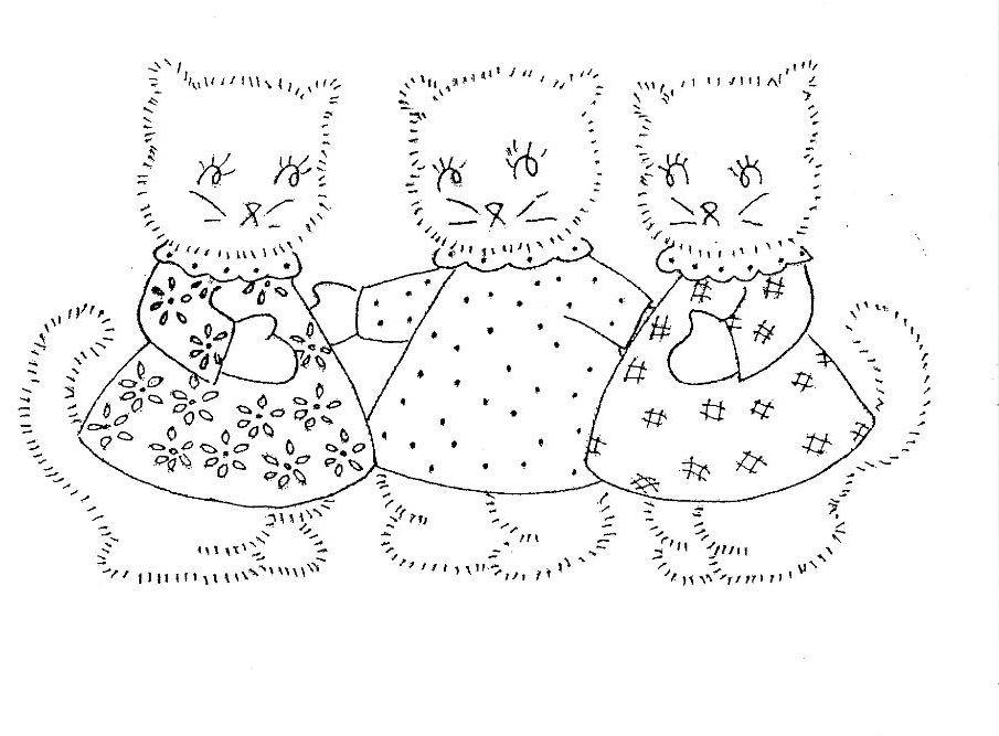 Inkspired Musings 3 Little Kittens Nursery Rhyme Fun Vintage Embroidery Embroidery Patterns Vintage Redwork Embroidery