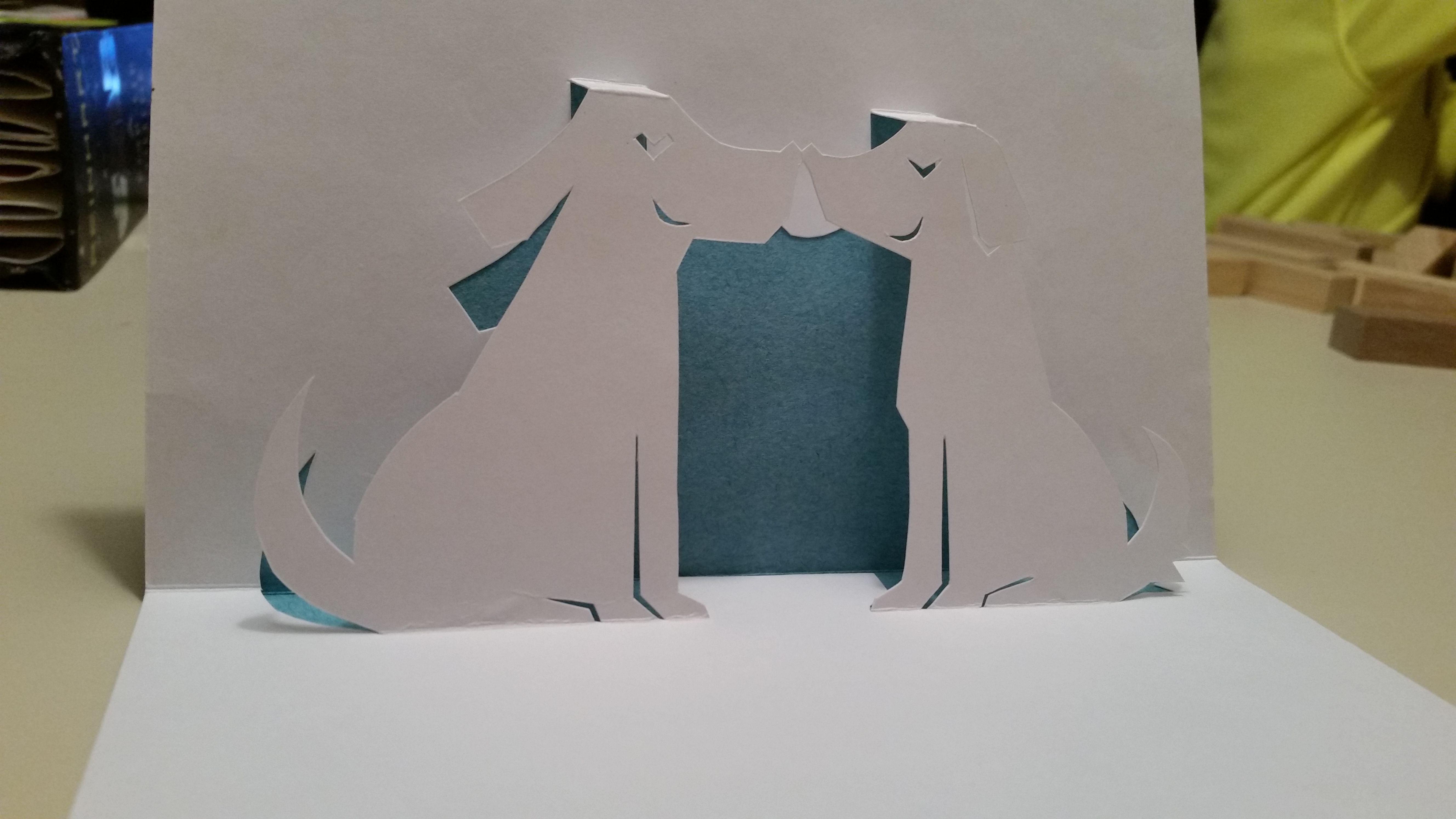 Two Dogs Pop Up Card Template From Handmade Papercraft Club At Http Www5d Biglobe Ne Jp M Uet 90dlpage Html Pop Up Card Templates Dog Pop Cards Handmade