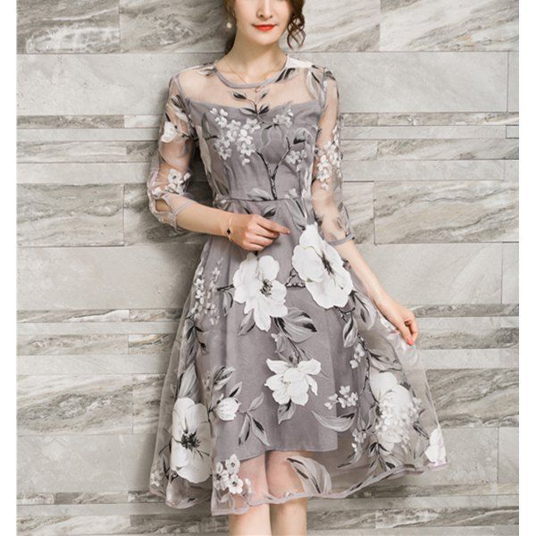 45abdc8712f5 $17.51 Chic Women's Voile Splicing 3/4 Sleeve Floral Print A-Ling Dress