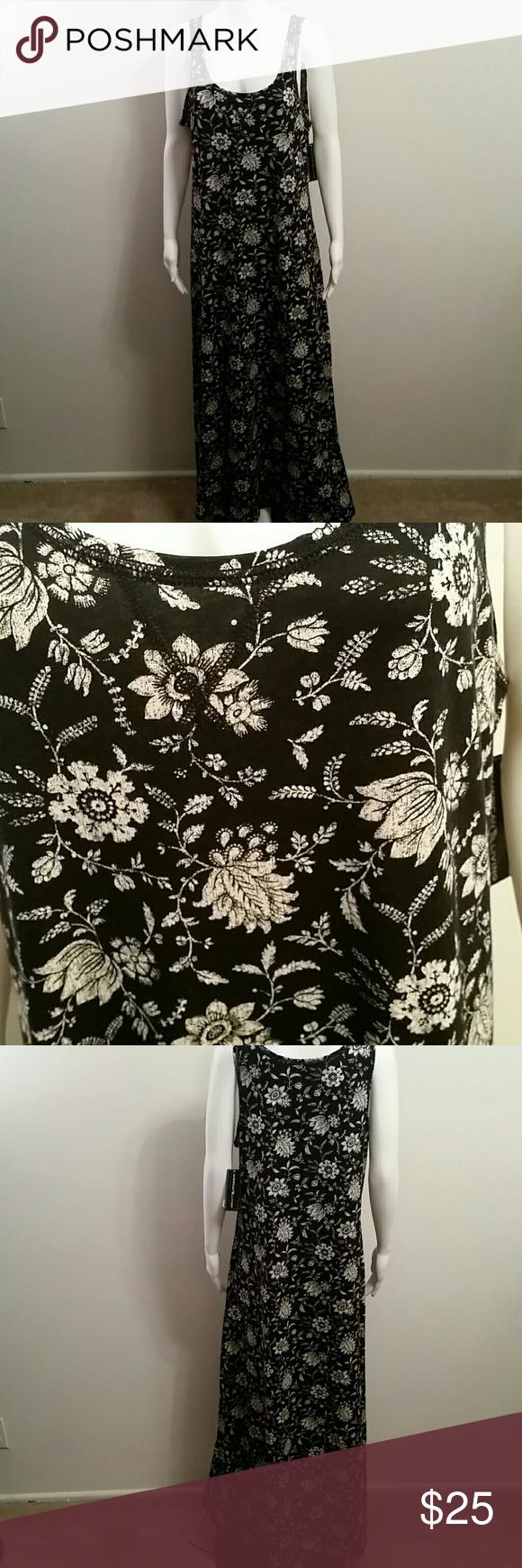 NWT American Living Black Floral Print Dress NWT American Living Black Floral Print Dress Retail  $60 American Living  Dresses Maxi