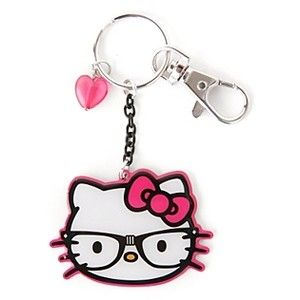 Hello Kitty Nerd Key Chain with Heart Charm - Polyvore