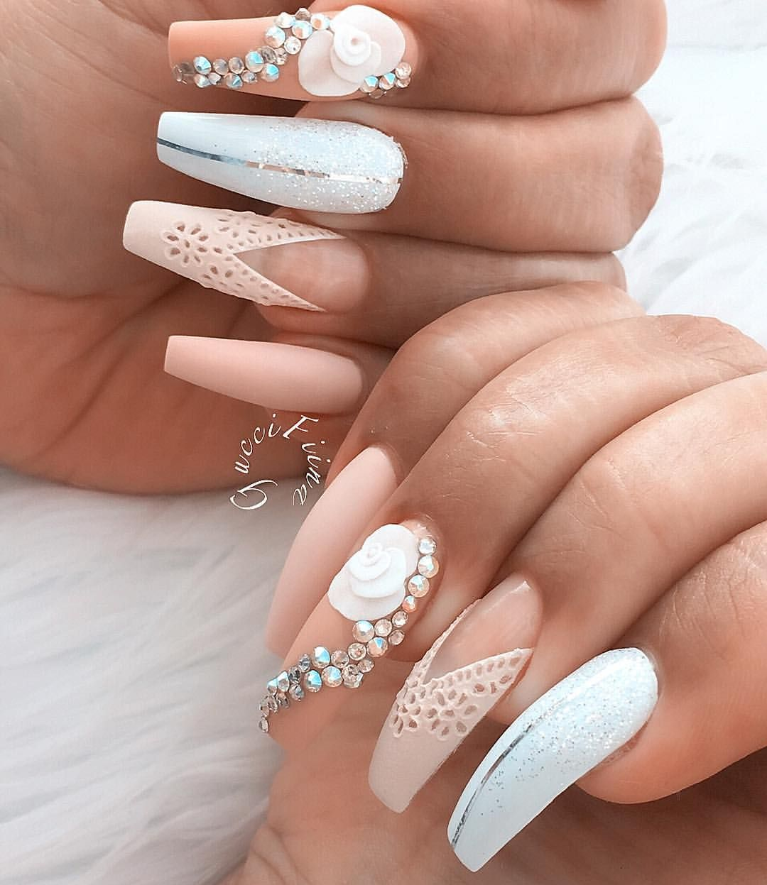 3D Acrylic Flowers, Swarovski Crystals Pink And White Nail