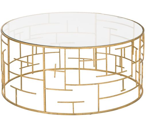 Goldfarbener Couchtisch Nola Mit Glasplatte Couchtisch Tischplatte Rund Eleganter Tisch