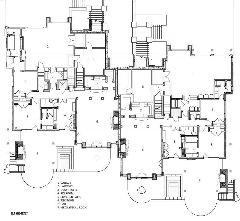 Slopeside Chalets By Locati Architects Floor Plans Basement Floor Plans Architect