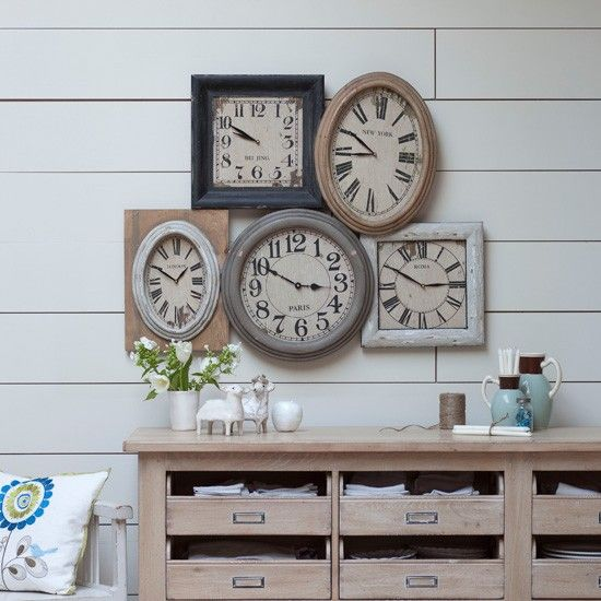 Rustic living room clock display Living room clocks Clock