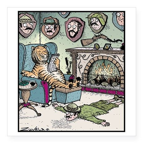 """The Tigers Trophy room Square Sticker 3"""" x 3"""" on CafePress.com"""