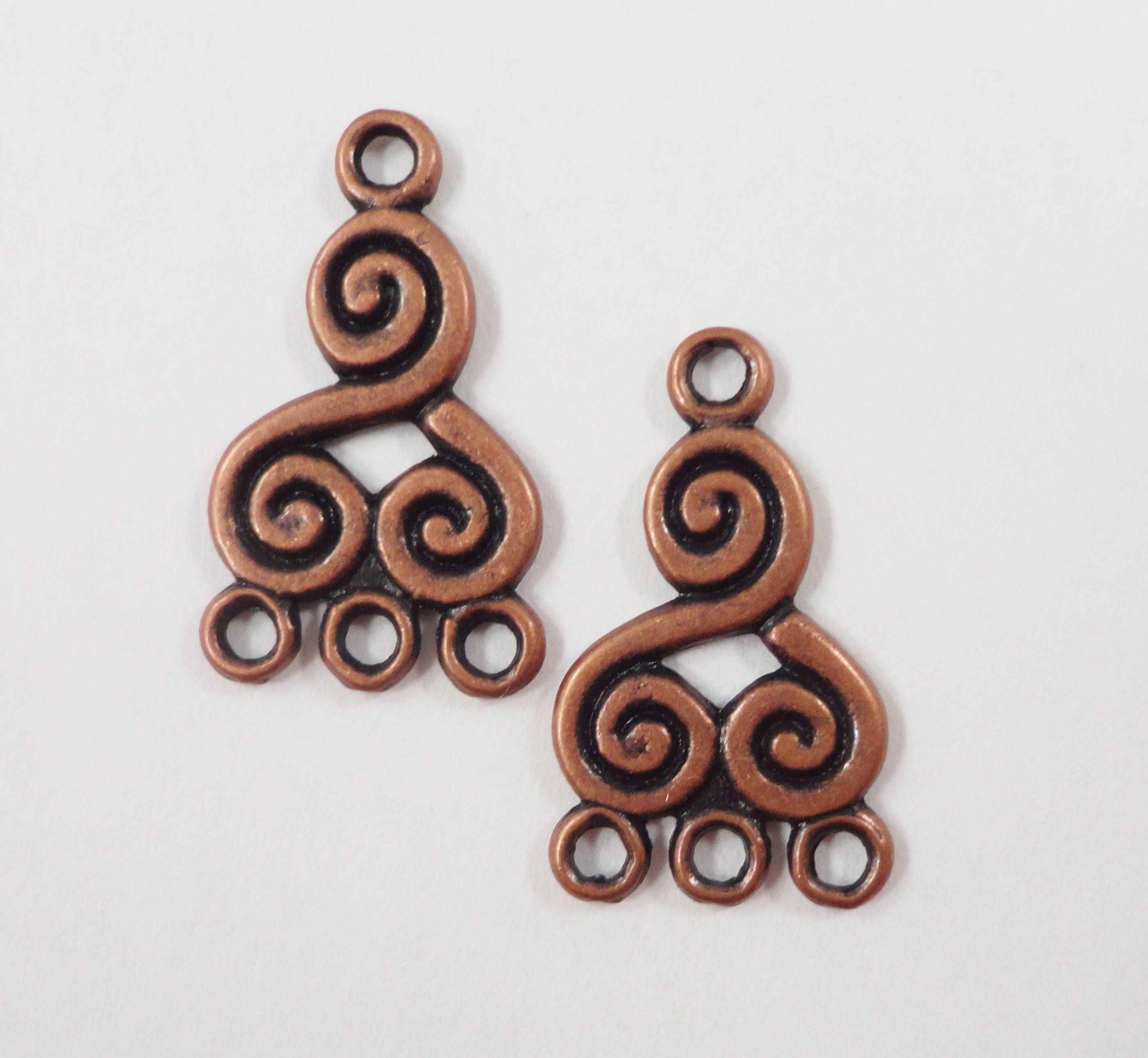 Copper chandelier earring findings 21x13mm antique copper metal copper chandelier earring findings 21x13mm antique copper metal swirl spiral 3 to 1 earring connector jewelry arubaitofo Image collections