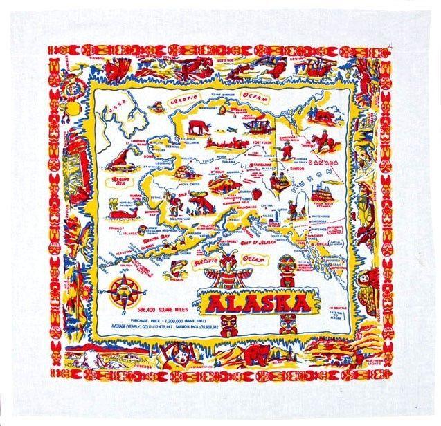 ALASKA State Map Flour Sack Towel Colorful Graphics Great To Frame Too