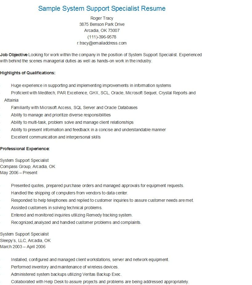 Sample System Support Specialist Resume resame Pinterest - psychosocial rehabilitation specialist sample resume