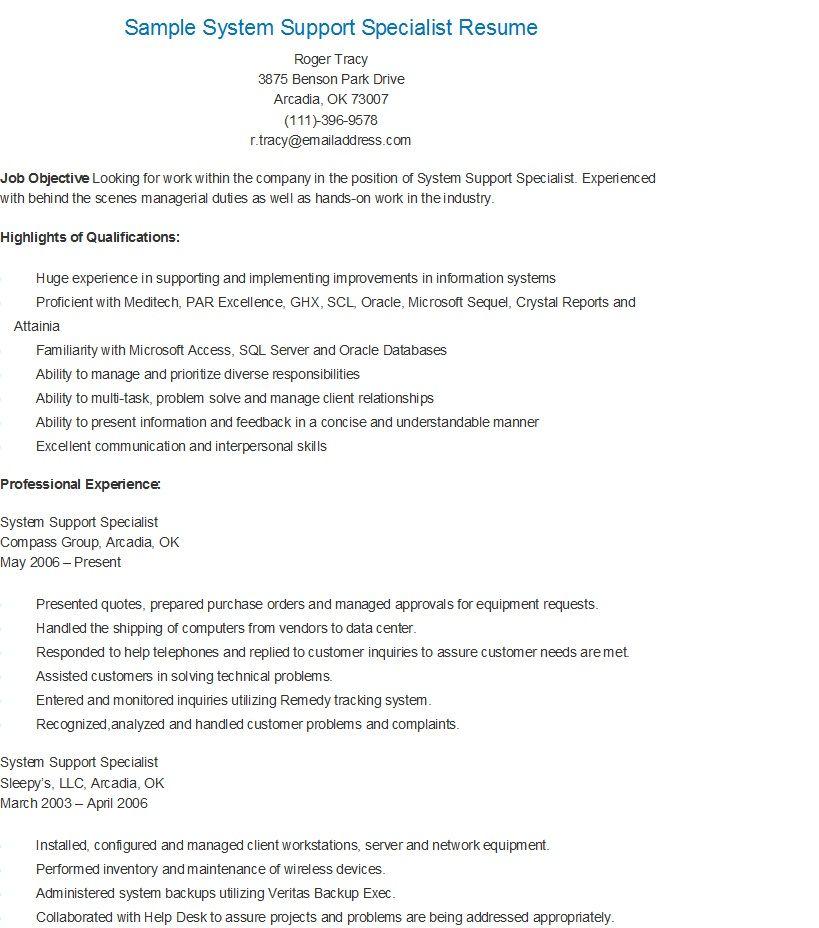 Sample System Support Specialist Resume resame Pinterest - sonographer resume