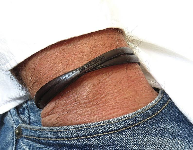 Personalized Mens Leather Bracelet Custom Gift For Dad Engraved Leather Bracelet Mens Gift
