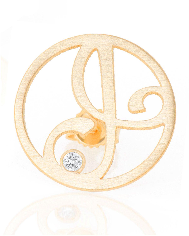 K Kane Right Singular Mini One-Initial Diamond Stud Earring, Yellow Gold