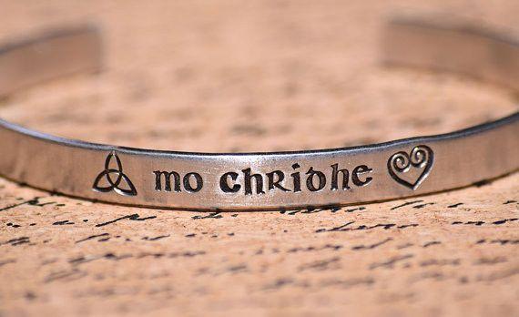 Mo Chridhe My Heart Scottish Gaelic Aluminum Bracelet