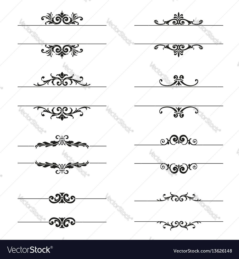Set of calligraphic design elements and page decor. Download a Free ...