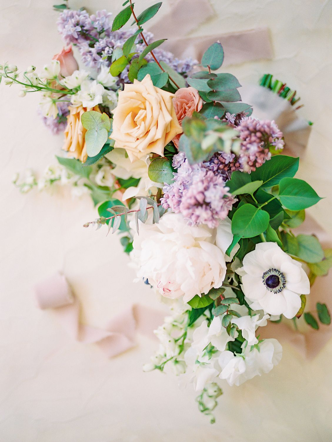Spring Pastel Bridal Bouquet With Muted Gold Purple And Pink Compass Floral Wedding Florist In San D Pastel Bridal Bouquet Floral Wedding Wedding Bouquets