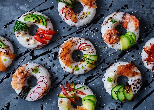If you already love sushi, it's time you made these impressive-looking doughnuts with your favourite choice of toppings