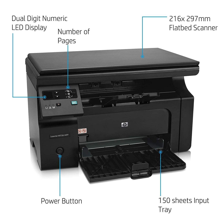 Hp Laserjet Pro M1136 All In One Black White Laptop Printer Laptop Computers Printer