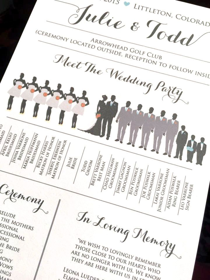 Wedding Silhouette Program Party DEPOSIT