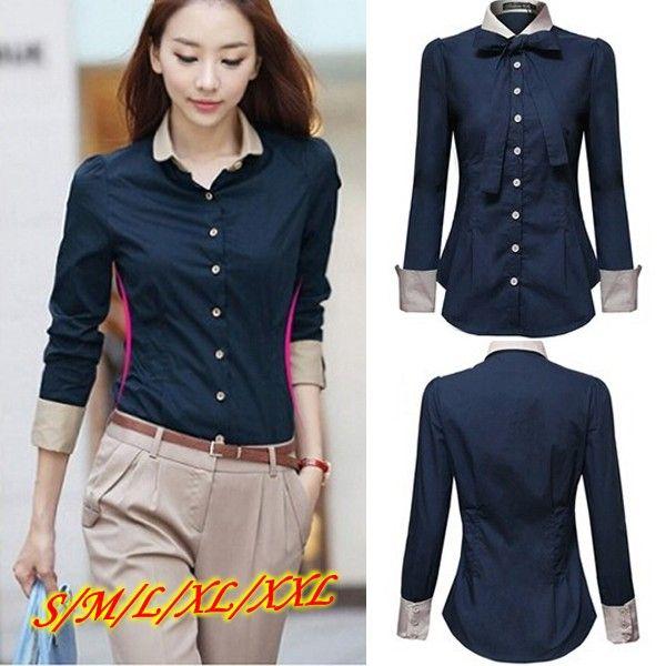 e19d2c8ada9a Cheap xxl nuevo más tamaño 2014 ol mujeres camisas manga larga azul ...