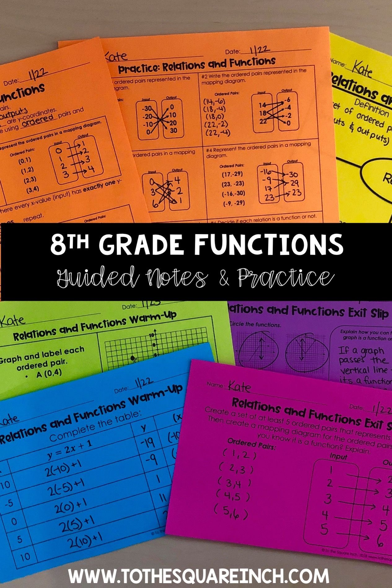 Functions 8th Grade Math Guided Notes And Activities