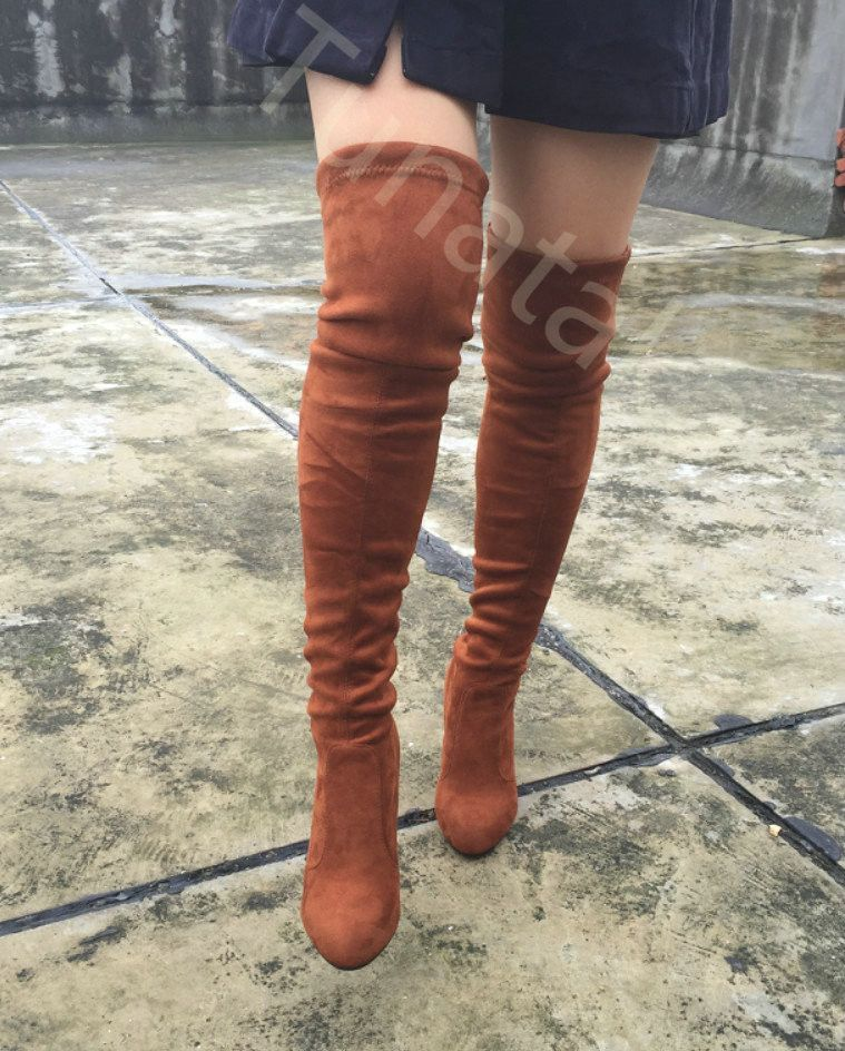 4d2e3813e8e Womens Stretch Slim Suede Over the Knee Boots Thigh High Boots Sexy Fashion High  Heel Boot Plus Size Shoes Woman 2016 Black Grey