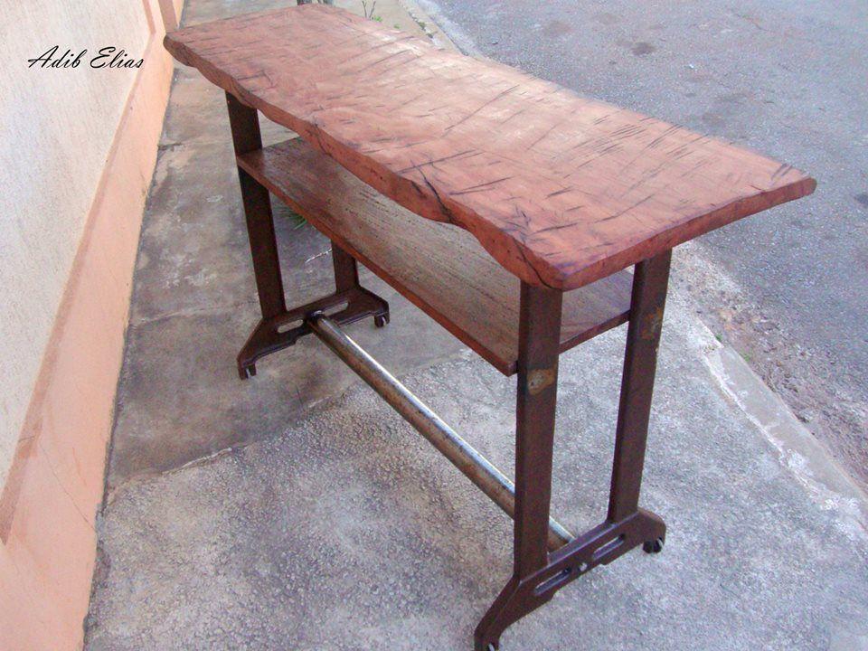 5e6581774 Aparador em madeira reciclada,base antiga pés de máquina de costura ...
