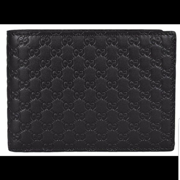 a6b42e80eba5 Gucci Men's GG Guccissima Large Leather Bifold Gucci. Made in Italy. Black  Leather.
