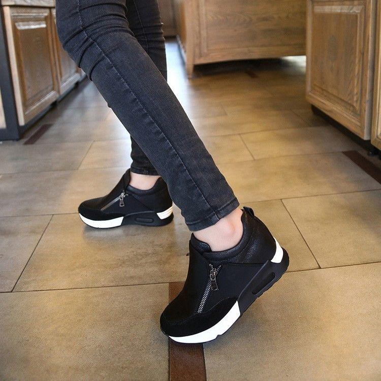 9fcc8fd84bf3 Women s Casual Running Sneakers Zip Wedge Hidden Heel Sport Shoes Trainers