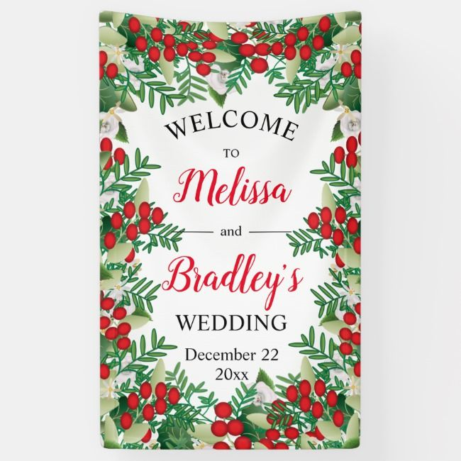 Red Berries  White Floral Holiday Wedding Welcome Banner