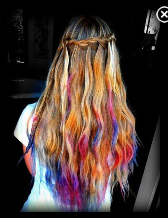 pretty dyed hair with mini fishtail on the side
