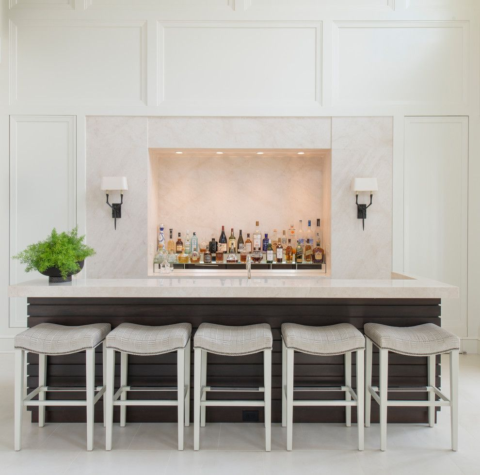 upholstered-bar-stools-Home-Bar-Traditional-with-bar-Chic-dark ...