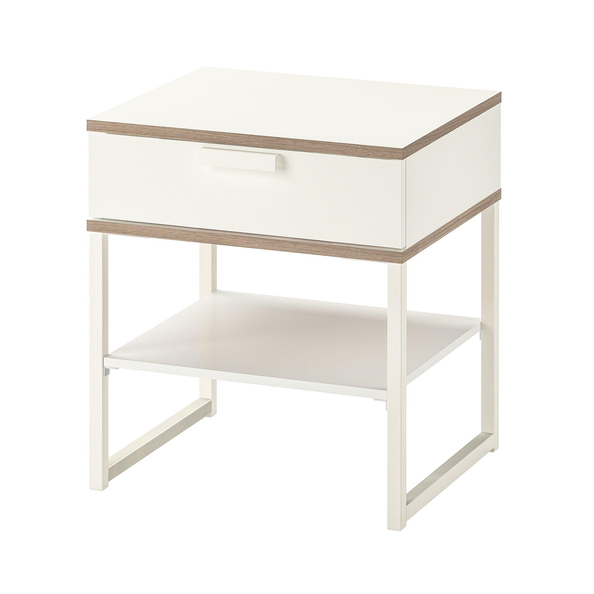 Trysil Bedside Table White Light Grey Ikea Ablagetisch Nachttisch Weiss Ikea