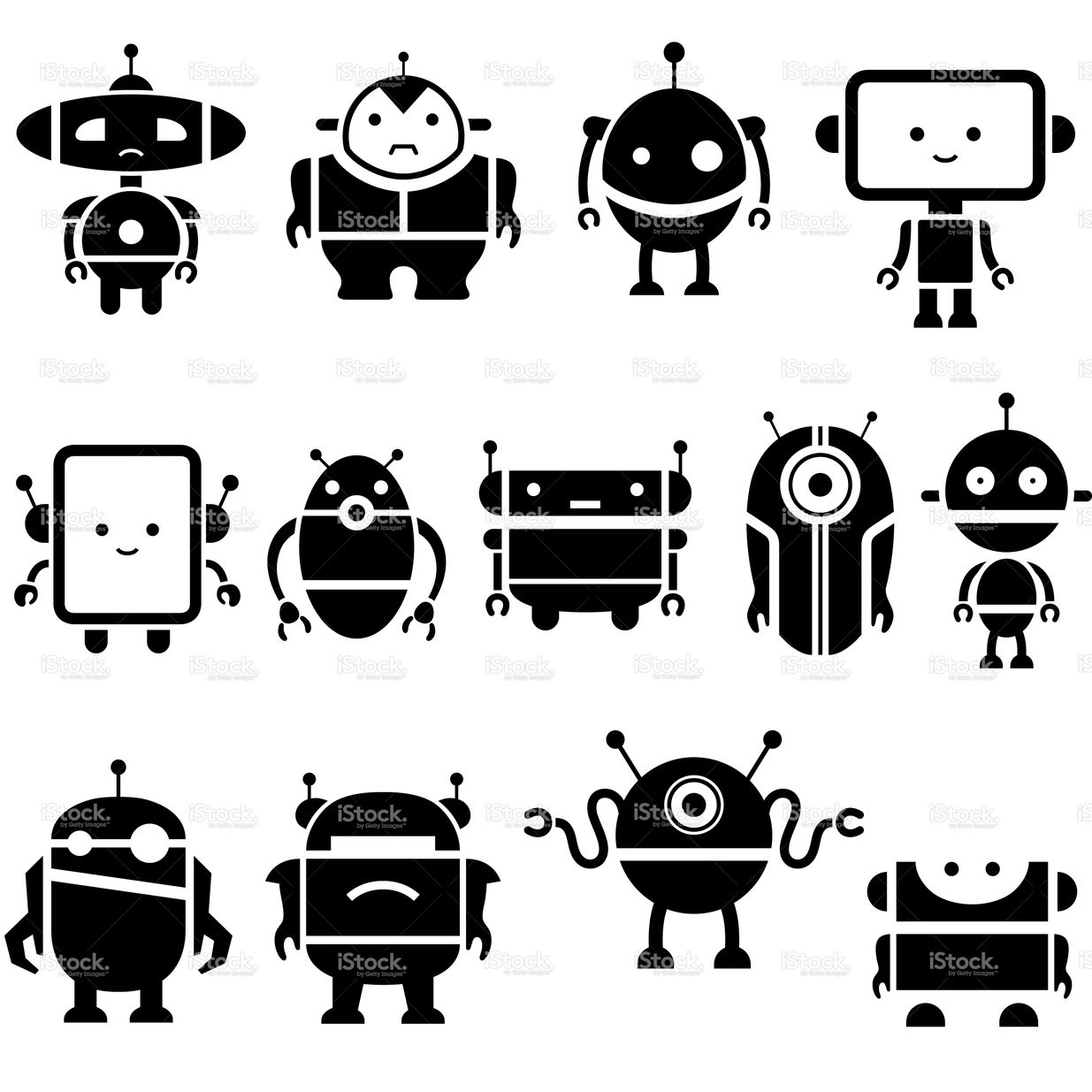 Simple Robot Character Symbols Art For Little Ones In