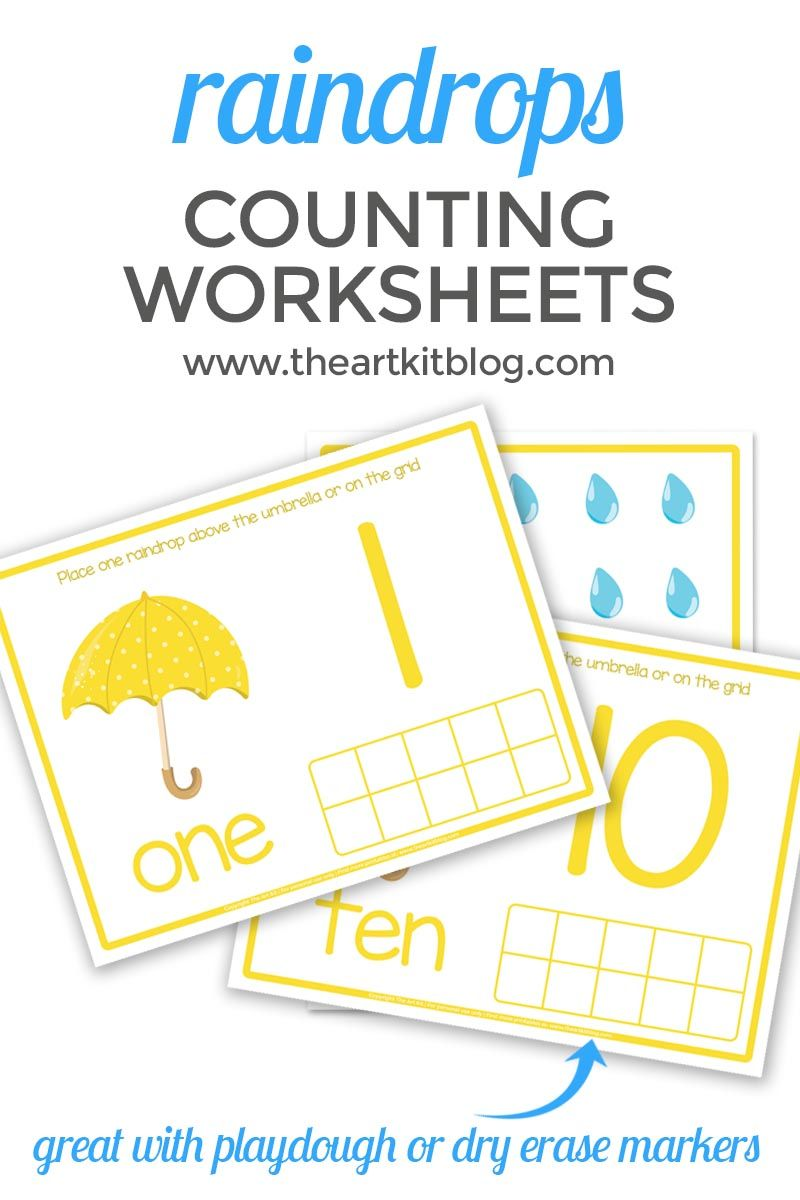 Counting Worksheets For Spring Raindrops And Umbrellas Free Printables Counting Worksheets Weather Crafts Craft Activities For Kids [ 1200 x 800 Pixel ]