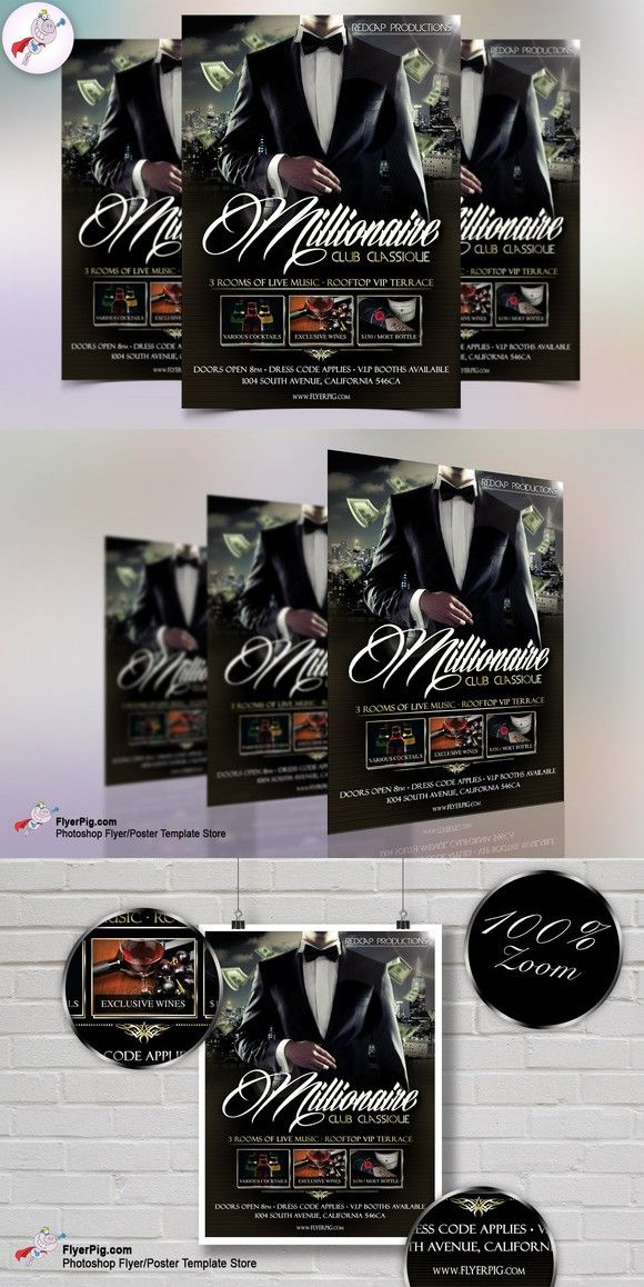 Millionaire Club Flyer Template Flyer Templates $800 Flyer - club flyer background