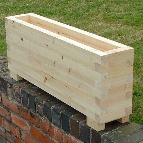 Large 1 Metre Wooden Garden Planter Box Trough Herb: Trough Planters- The Oli Wooden Garden