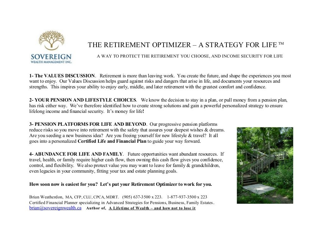 Retirement Optimizer - a strategy for life  by Brian