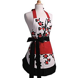 cherry blossom women's original flirty apron, black | cherries