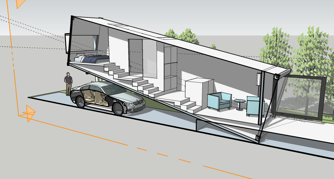 Tiny Home Designs: Section Of A Concept For A Shipping Container House