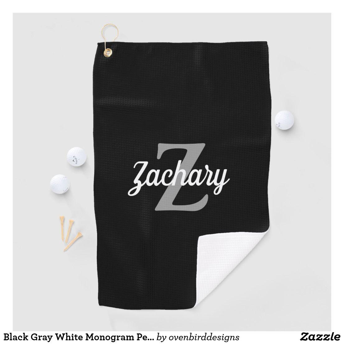 Black gray white monogram personalized golf towel zazzle