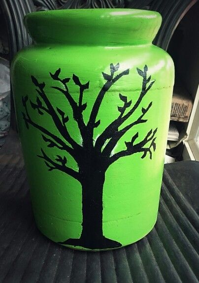 DIY stencil painted urn