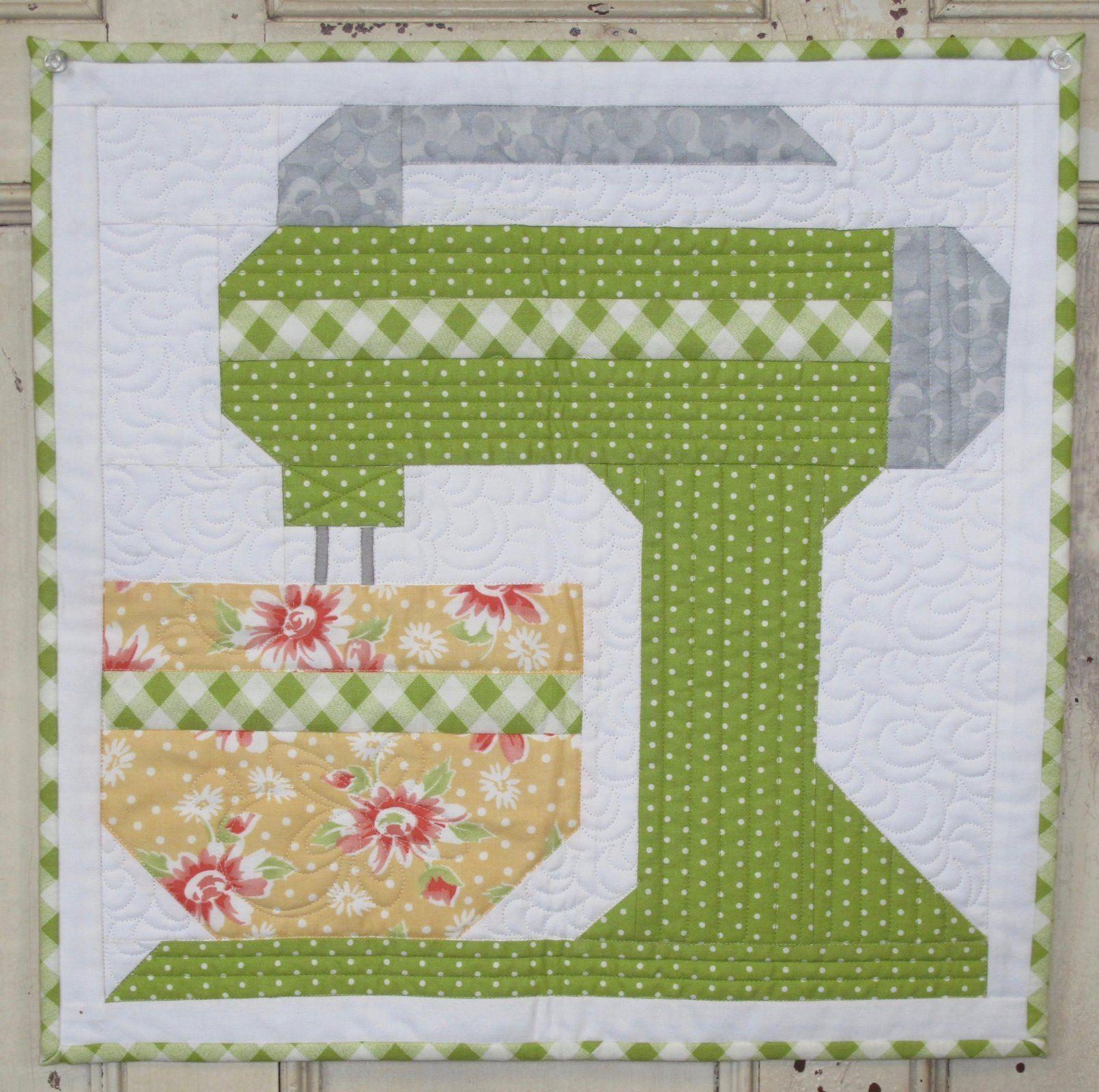 Kitchen Mixer Kit Green Dot   Quilt block patterns, Farm ...