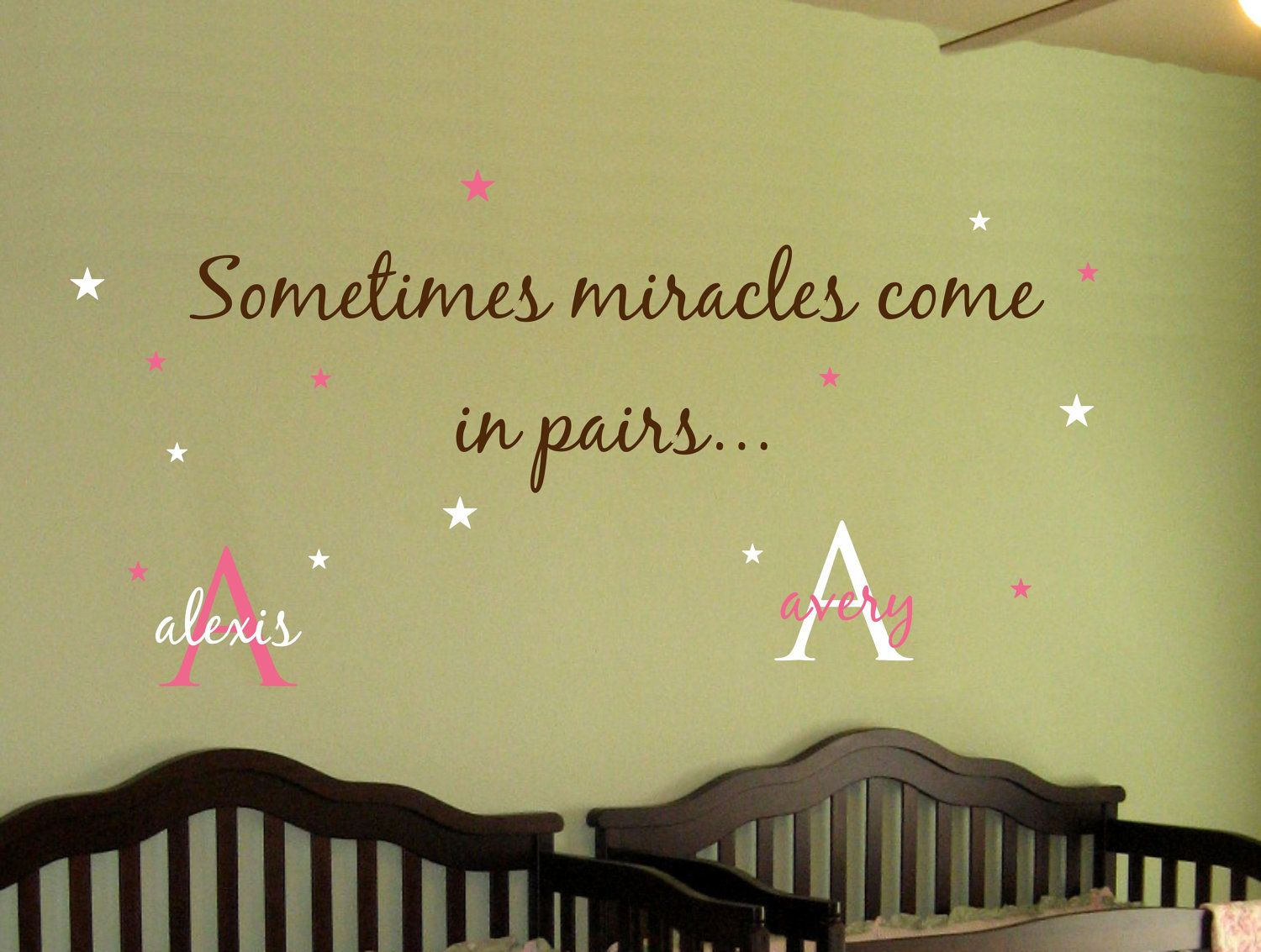 Baby TWINS Wall Decal Saying AND Name Initial Stars Sometimes - Baby nursery wall decals sayings
